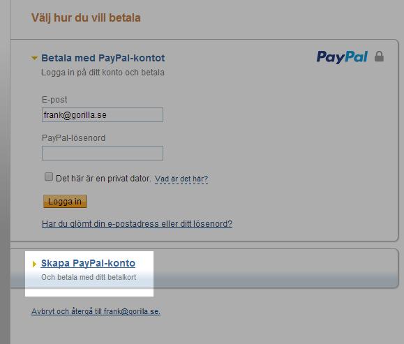 PayPal kreditkort instruktion